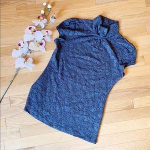 EXPRESS lace mock turtleneck size Medium grey